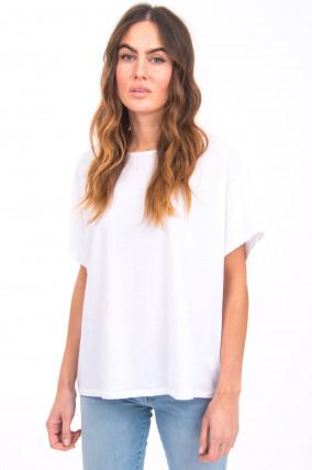 Kurzarm Shirt mit U-Boot-Ausschnitt in Weiß
