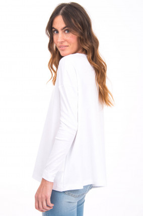 Langarmshirt in Weiß