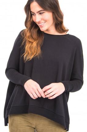Shirt mit Fledermausarm in Schwarz