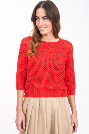 Leinen-Pullover GHIACCI in Rot