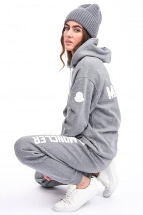 Jogging-Hose mit Schriftzug in Grau