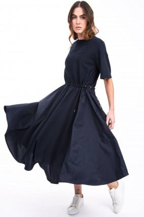 Kleid mit Taft-Einsätzen in Navy