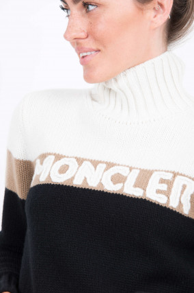 Rollkragen Pullover in Weiß/Camel/Schwarz