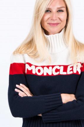 Rollkragen Pullover in Weiß/Rot/Blau