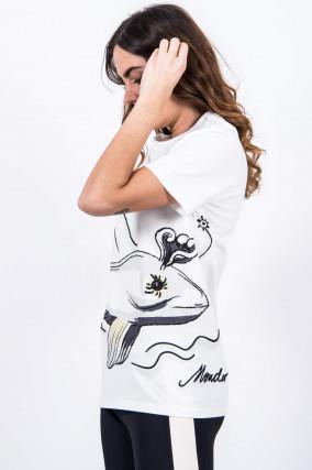Baumwollshirt mit Wal-Print in Weiß