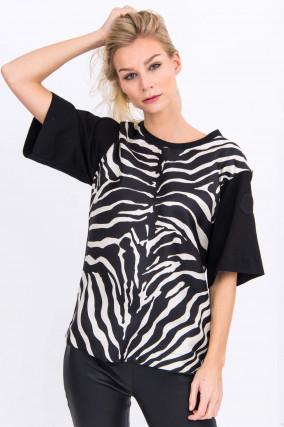 Shirt mit Animal-Print in Schwarz/Weiß