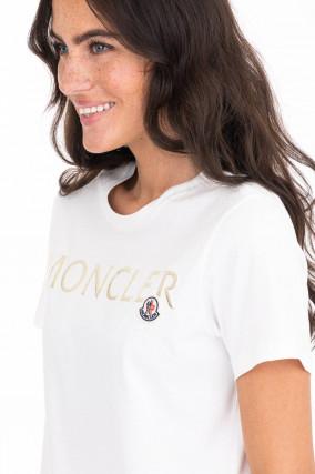T-Shirt mit Metallic-Schriftzug in Weiß