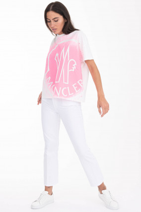T-Shirt mit Colour-Splash-Print in Weiß/Neonpink