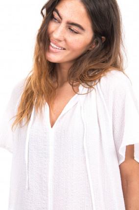 Bluse aus Musselin-Stoff in Weiß