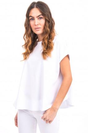 T-Shirt mit ausgestelltem Saum in Weiß