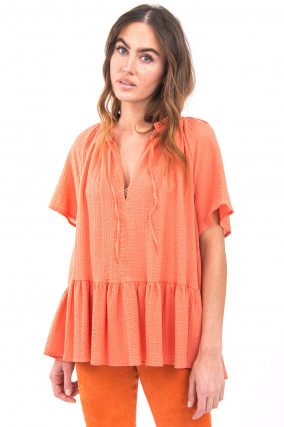 Bluse aus Musselin-Stoff in Papaya