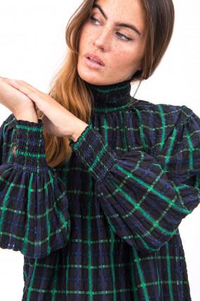 Bluse mit voluminösen Ärmel in Grün/Schwarz