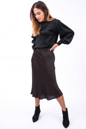 Blusenshirt mit voluminösen Ärmeln in Schwarz