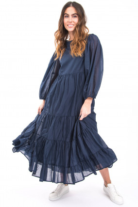 Langes Kleid mit Volantbahnen in Blau