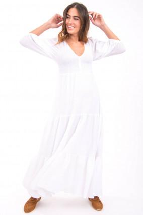 Langes Kleid aus Musselin Stoff in Weiß