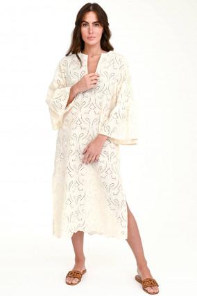 Midi-Kleid mit Lochstick in Vanille