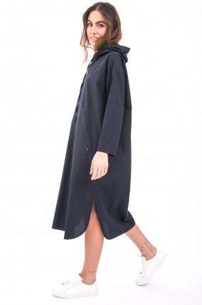 Kleid mit Kapuze in Blau