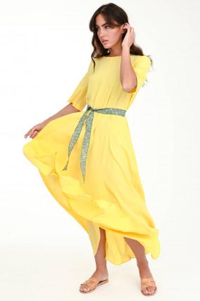 Maxi-Kleid aus Seiden-Mix in Gelb