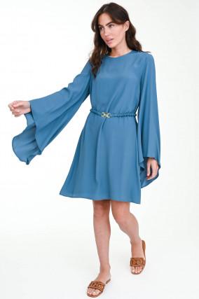 Kleid mit Taillengürtel in Azurblau