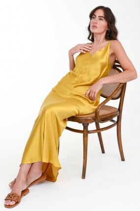 Fließendes Maxi-Kleid in Goldgelb
