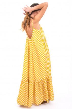 Maxi-Kleid mit Schachbrettmuster in Weiß/Gelb
