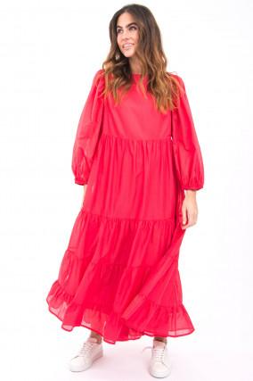 Langes Kleid mit Volantbahnen in Korallpink