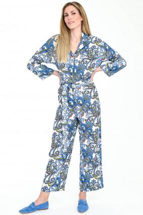Jumpsuit TUTA mit Paisley Print in Weiß/Blau