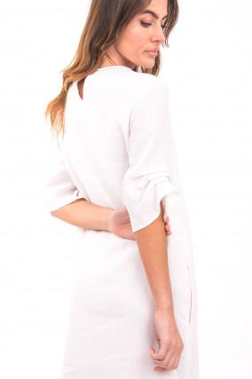 Kleid mit Schmucksteindetails in Weiß