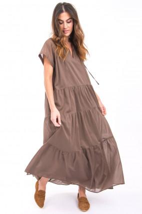 Maxi-Kleid mit Volants in Coffee