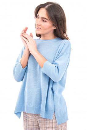 Pullover mit hohen Seitenschlitzen in Hellblau