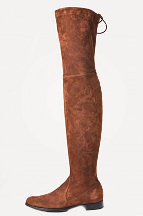 Overknee - Stiefel aus Veloursleder in Cognac