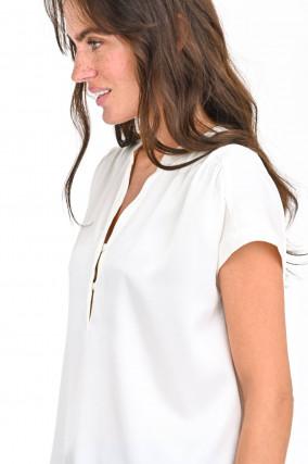 Bluse mit Seiden-Front in Weiß