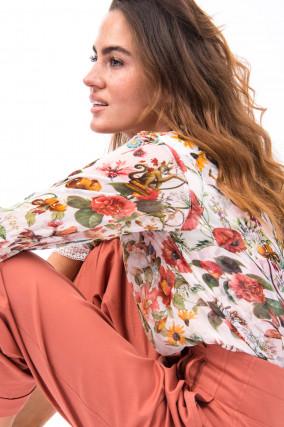 Bluse mit Floralem-Print in Rosa