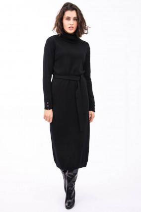 Rollkragen-Kleid in Schwarz
