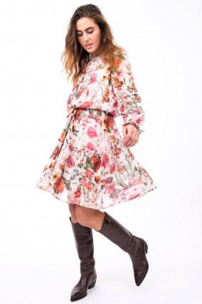Verspieltes Kleid mit Floralem Print in Rosa