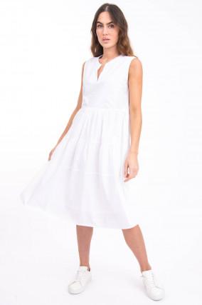 Ärmelloses Volantkleid in Weiß