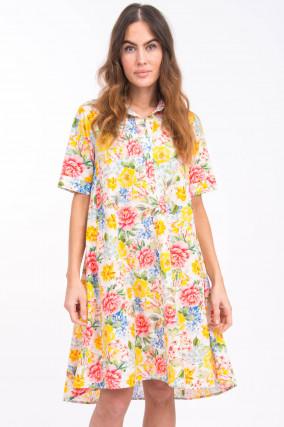 Blusenkleid mit Blumen-Print in Multicolor