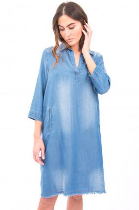 Jeans-Kleid mit Fransen in Mittelblau