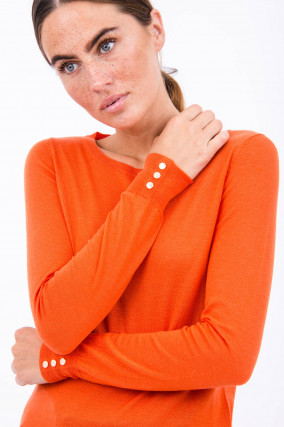 Leichter Strickpullover in Orange