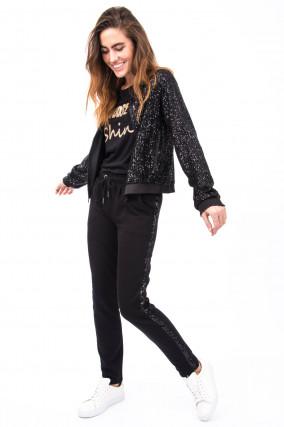 Jacke mit Pailletten-Besatz in Schwarz