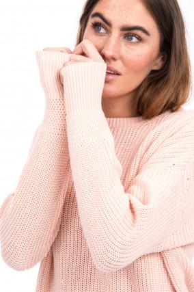 Pullover aus Baumwoll-Mix in Pastellrosa