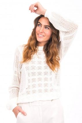 Lochstrick-Pullover in Weiß