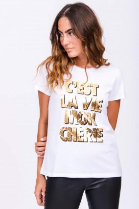 T-Shirt C'EST LA VIE MON CHÉRIE in Weiß