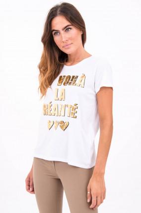 T-Shirt ET VOILÁ LA RÉALITÉ in Weiß
