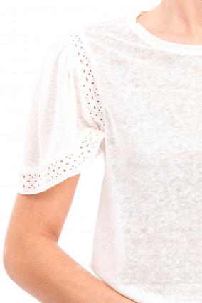 Shirt mit Lochstickerei in Natur