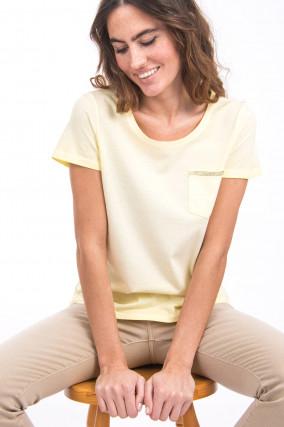 T-Shirt mit Brusttasche in Pastell-Gelb