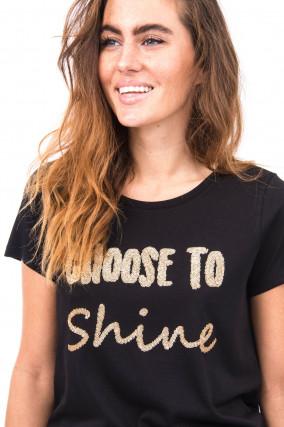 T-Shirt CHOOSE TO SHINE in Schwarz/Gold
