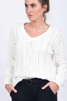 Pullover mit V-Auschnitt in Natur