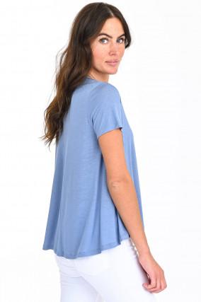Ausgestelltes Kurzarm Shirt in Hellblau