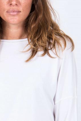 Langarmshirt mit Schmuckdetail in Weiß